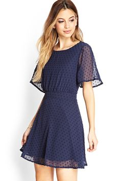 Blue Short Sleeve Backless Embroidered Dress - Sheinside.com