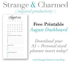 August Dashboard Free Planner Printable