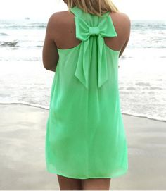 Stylish Scoop Neck Solid Color Bowknot Embellished Sleeveless Dress For Women Summer Dresses | RoseGal.com Mobile