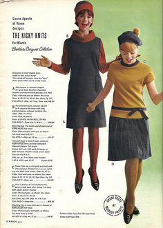 1965 Fashion. The look on the right is adorable!