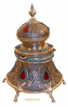 orient Massive Neusilber islamic indo persian handgearbeitete teedose gefäß  01