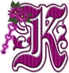 Alfabeto floral rosa chicle....mayuscula..K