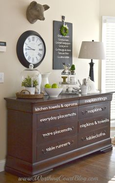 how to use a dresser for store linens dining room ideas home decor organizing repurposing upcycling storage ideas wall decor Sideboard Dekor, Dining Room Sideboard, Dresser In Living Room, Dresser In Kitchen, Buffet Table Ideas Decor Dining Rooms, Sideboard Ideas, Buffet Ideas, Dresser To Buffet, Diningroom Decor
