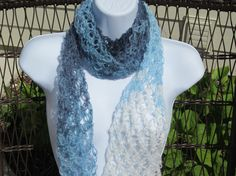 Crochet Summer Scarf in Shades of blue and white by Bluetulipgifts, $19.99