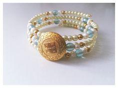 Beautiful Vintage Gold Givenchy Button Bracelet by OldSoul50