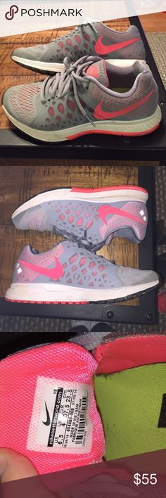 Nike Pegasus sneakers Nike Pegasus running sneakers. A light grey with light pink colored running shoe. Worn only TWICE, slightly dirty on bottom. Great as a running shoe or a lifestyle shoe. Nike Shoes Sneakers