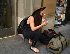Lipstick & Cigarettes (tacosnachosburritos) Tags: sanfrancisco california street city summer people urban woman hot streets sexy guy love girl hat fashion lady shopping photography cigarette gritty babe smoking chick hills trendy chic thelook 7x7