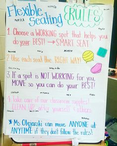 This anchor chart for flexible seating will let the students and teacher be reminded of what the expectations are for flexible seating. There are other options for flexible seating anchor charts as well. Classroom Layout, 4th Grade Classroom, Classroom Behavior, Classroom Community, Classroom Environment, School Classroom, Classroom Organization, Classroom Management, Classroom Ideas