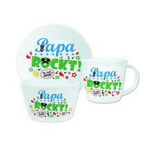 Geschenkset »Papa rockt«  Mit diesem coolen Geschenk-Set bestehend aus Tasse, Teller und Schale zeigst Du Deinem Papa, dass er der Hit ist! Das Design des rockig-bunten Trios ist mit viel Liebe zum Detail auf den Text abgestimmt. So kann Dein Vater schon beim Frühstücken an seine/n liebe/n Tochter/ Sohn denken. Nur 19,99 € http://sheepworld.de/shop/Weihnachten/Geschenk-Sets/Geschenkset-Papa-rockt.html