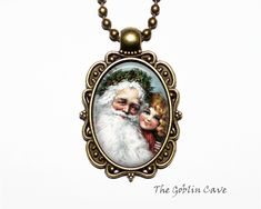 Santa Claus Necklace, Christmas Jewelry, Bronze Pendant, Stocking Stuffer Gift Christmas Necklace, Christmas Jewelry, Princess Jewelry, Bronze Pendant, Cute Packaging, Handmade Items, Handmade Gifts, Organza Bags, Ball Chain