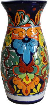 Colorful Talavera Round Flower Vase