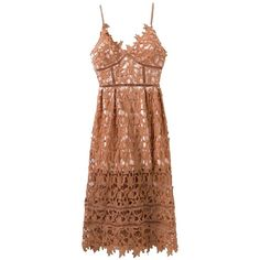 Hollow Out Lace Nude Slip Dress ($30) ❤ liked on Polyvore featuring dresses, rosegal, brown slip dress, slip dresses, lace slip dresses, brown cocktail dress and brown dresses