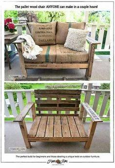 Easy pallet chair. I love the burlap upholstery