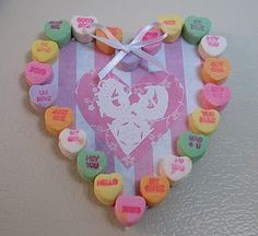 Cute Valentine made with Conversation Hearts - Better to use them for a craft, than to eat them.