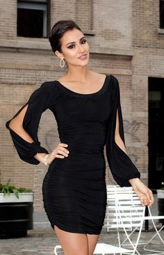 Short Scoop-Neck Dress with Long Sleeves cocktail dress cocktail dresses Little Black Dress Outfit, Black Dress Outfits, Sexy Dresses, Beautiful Dresses, Evening Dresses, Fashion Dresses, Short Sleeve Dresses, Dresses With Sleeves, Formal Dresses