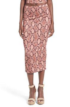 Missguided Snake Print Midi Skirt