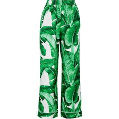 Dolce & Gabbana Printed silk-twill wide-leg pants ($1,265) ❤ liked on Polyvore featuring pants, jeans, green, high waisted wide leg trousers, high rise pants, floral wide leg pants, wide leg pants and green pants