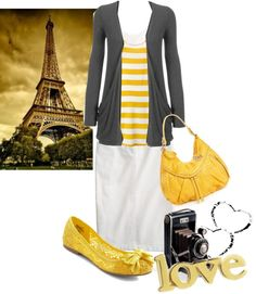 <3 yellow and gray modest outfit