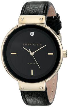 Anne Klein Women's AK/1850BKDB Diamond-Accented Gold-Tone and Black Strap Watch