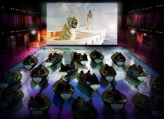 A swimming pool in Paris was recently transformed into a cinema for the new release of Ang Lee's Life of Pi. The special screenings let th. Dine In Theater, Movie Theater, The Places Youll Go, Places To Go, Pi Art, Life Of Pi, Outdoor Cinema, West Side Story, Notting Hill
