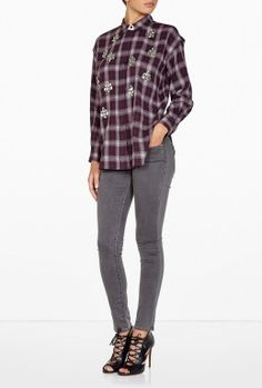 Alfredah Embellished Plaid Blouse By By Malene Birger