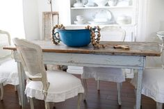 Beautiful Antique grey - blue table from England