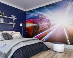 sports wall muralsred sports car wallpaper mural ohpopsi