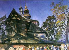 Falat, Julian - 1911 Church in Mikoszowicach (Silesian Museum, Bytom, Poland) Art Academy, Watercolor Paintings, Watercolors, National Museum, Impressionist, Art Museum, Still Life, Fine Art, Landscape