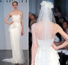 Vestido de noiva tomara que caia saia tule peplum renda véu flor (Coleção: Marchesa)