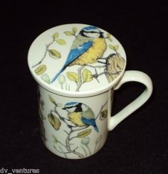 Kent Pottery Chickadee ? Bird LIDDED / Coaster COFFEE MUG TEA 1887 Collection