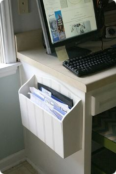 10 DIY Office Organization Tutorials wooden paper holder screwed to a side of a desk.wooden paper holder screwed to a side of a desk. Diy Organisation, Home Office Organization, Computer Desk Organization, Office Storage, Organising, Diy Rangement, Ideas Para Organizar, Diy Inspiration, Ideas Hogar