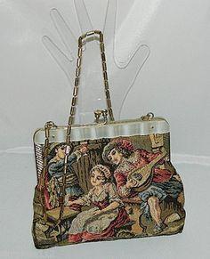 Vintage tapestry fabric evening handbag