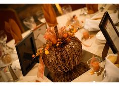 Fall wedding pumpkin centerpieces