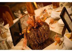 Fall wedding pumpkin centerpieces