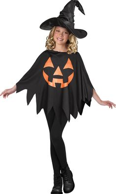 Marvellous Jack O Lantern Child Poncho Costume. Cool array of Witch & Wizard Costumes for Halloween at CostumePub. Wicked Witch Costume, Spooky Halloween Costumes, Toddler Witch Costumes, Sorceress Costume, Card Costume, Girl Drama, Jack O Lantern Faces, Morris Costumes, Kids Poncho