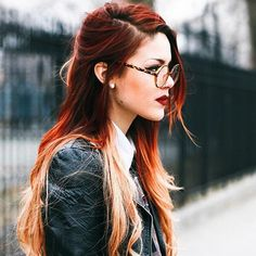 Red ombre ~love this look, love the blonde and orange highlights and this color red is the bomb and the glasses are super sweet...she just has a rad style