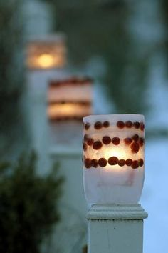 Ice luminaries with cranberries