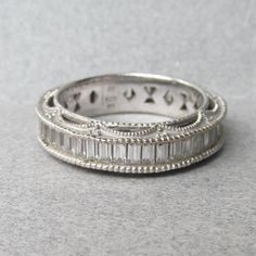Vintage Emerald Cut Cubic Zirconia Sterling Silver Eternity Band Ring with Ornate Open Work Setting, Size 9