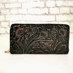 Leather Wallet for Women , Handmade , With zipper, Boho, Bohemian, Large wallet , Wallet for Cards, Hand Tooled Leather, Gift for Her by aymxleather on Etsy Leather Tooling, Cow Leather, Cowhide Leather, Leather Wallet, Handmade Wallets, Handmade Handbags, Large Wallet, Wallets For Women Leather, Leather Design