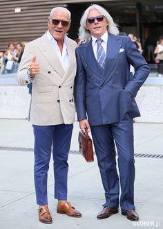 Renato Plutino and Hugo Jacomet from Parisian Gentleman Mature Mens Fashion, Suit Fashion, Sharp Dressed Man, Well Dressed Men, Blazer Bleu, Linen Suits For Men, Royal Blue Suit, Black Suit Men, Classy Suits