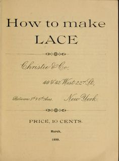 How to make lace.
