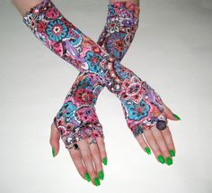Will O' the Wisp  Multicolored arm warmers with burn by Mellode, $28.00