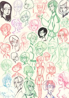 Characters sketches Moleskine sept 2012 by ~Cheeky-Bee on deviantART