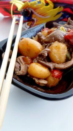 Duck & water chestnuts wok