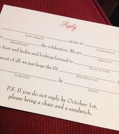 With one tiny addition on your RSVP, you can subtly and humorously tell your guests you mean business about this RSVP deadline!  #lythwoodweddings #offbeatbride #rsvpwording #weddings