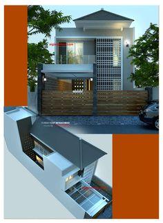 Desain Rumah Kost 2 Lantai Minimalis. Keberadaan rumah kost minimalis ini menempati lahan kavling sudut dengan desain rumah ber-arsitektur modern