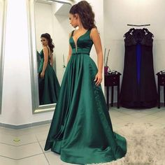 v-neck two straps emerald green formal green long prom dress, PD8854
