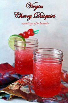 Virgin Cherry Daiquri  4 oz cherry juice (any kind)  8 oz sprite  1 oz maraschino cherry syrup  2 oz grenadine  2 to 4 tablespoons powdered sugar  4 cups ice  Garnish:  maraschino cherries  lime
