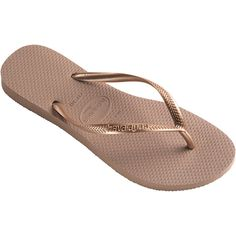 Havaianas Nude Colour Havaianas Flip Flops With Rose Gold Strap - Slim... ($28) ❤ liked on Polyvore featuring shoes, sandals, flip flops, light pink, flip flop shoes, flip flop sandals, rose gold flip flops, havaianas sandals and light pink shoes