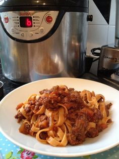 Crock-Pot Bolognese - based on Michaela Chiappa's  Rich Ragu.  This recipe is PERFECT for the slow cooker because it uses tomato puree rather than tinned tomatoes, making it really flavourful. Brown the meat & add to the slow cooker with the remaining ingredients (I only used 1 stock cube & about 100ml wine). Stir well (it will look dry, but don't add any more liquid) & cook on low for 6-8 hours. At the end of cooking, stir about 100ml pasta water into the sauce to help it adhere to the…